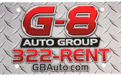 G-8 Auto Group License Plate, PE White