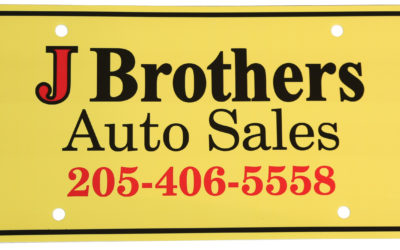 J Brothers Auto Sales License Plate, PE White