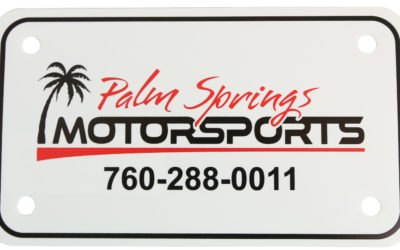 Palm Springs MotorSports License Plate, PE White